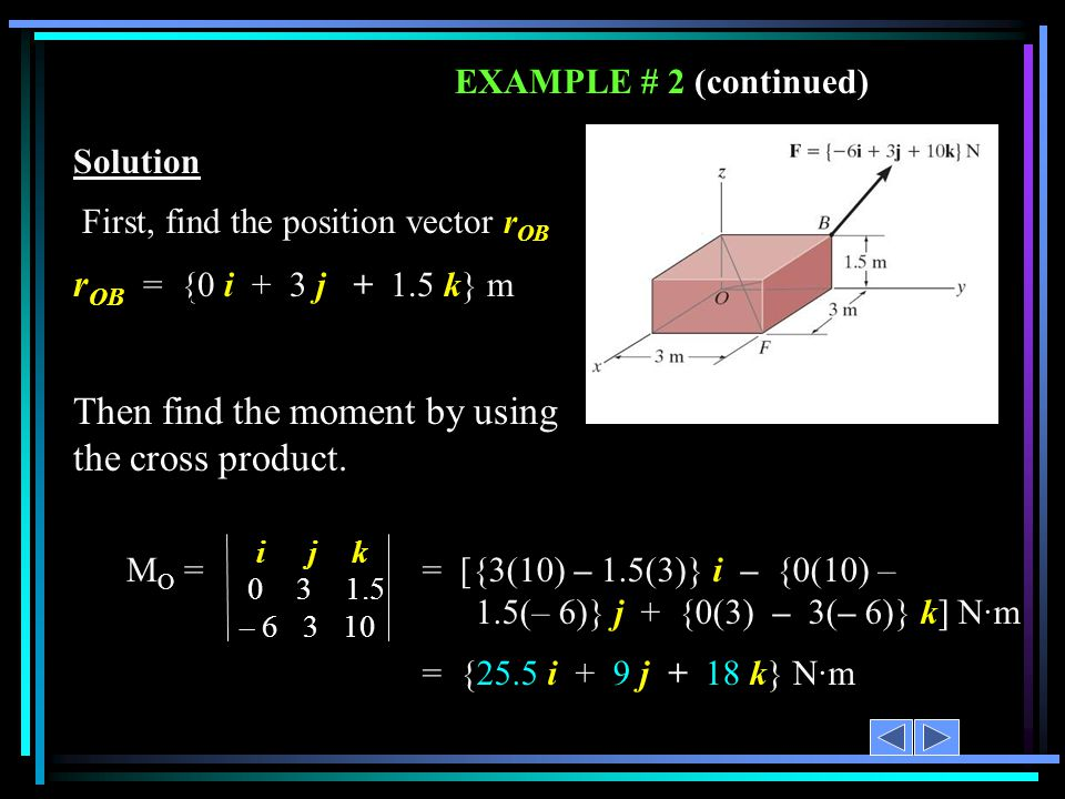 EXAMPLE # 2 (continued) Solution First, find the position vector r OB r OB = {0 i + 3 j + 1.5 k} m Then find the moment by using the cross product. ij