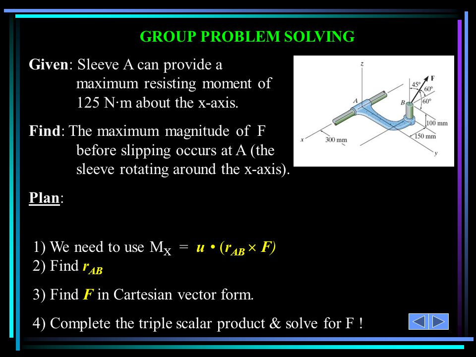 GROUP PROBLEM SOLVING 1) We need to use M X = u (r AB  F) 2) Find r AB 3) Find F in Cartesian vector form. 4) Complete the triple scalar product & so