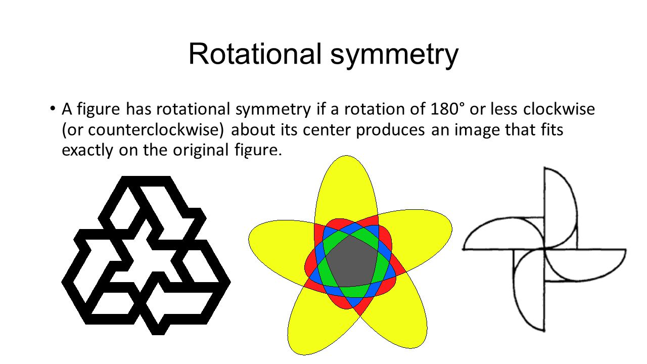 Rotational symmetry A figure has rotational symmetry if a rotation of 180° or less clockwise (or counterclockwise) about its center produces an image that fits exactly on the original figure.
