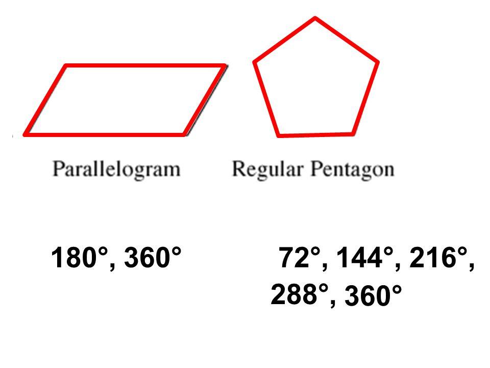 180°,72°,144°, 288°, 216°, 360°