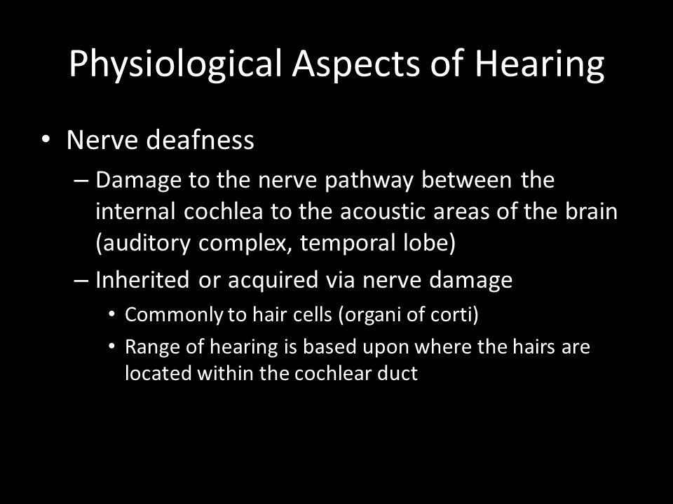 Physiological Aspects of Hearing Nerve deafness – Damage to the nerve pathway between the internal cochlea to the acoustic areas of the brain (auditory complex, temporal lobe) – Inherited or acquired via nerve damage Commonly to hair cells (organi of corti) Range of hearing is based upon where the hairs are located within the cochlear duct