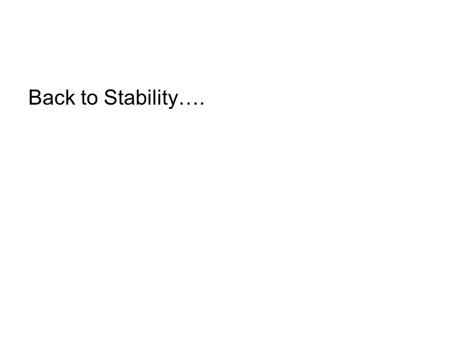 Back to Stability….