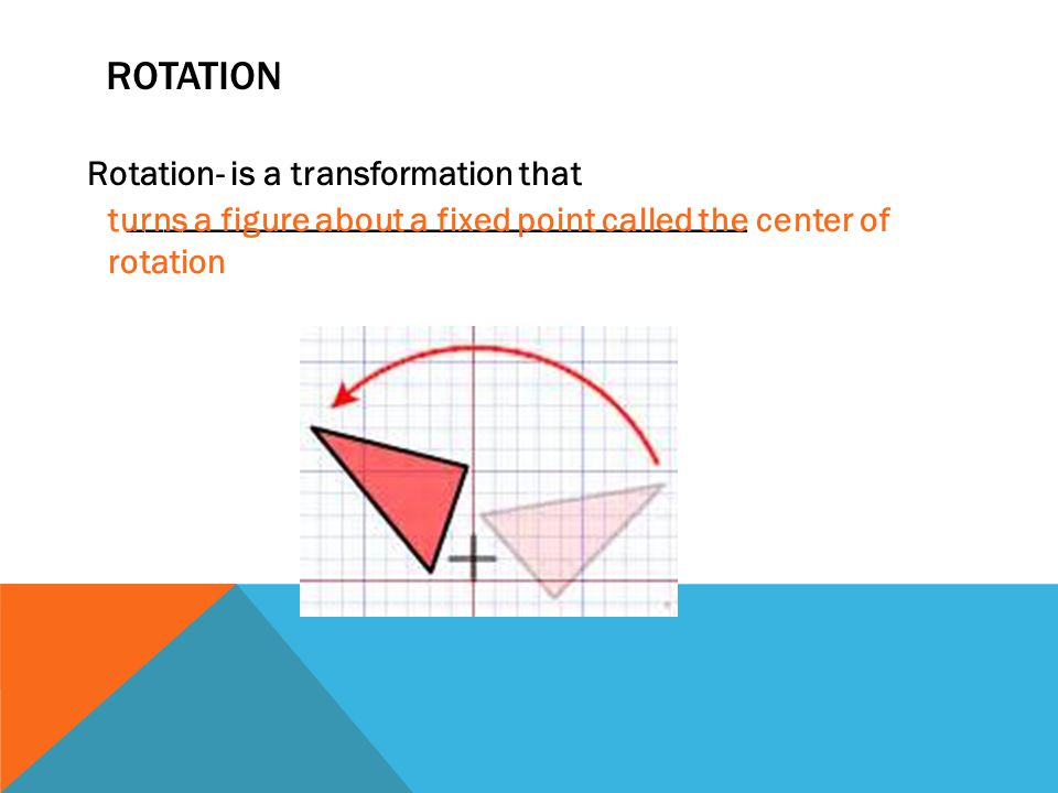 ROTATION Rotation- is a transformation that ___________________________________ turns a figure about a fixed point called the center of rotation