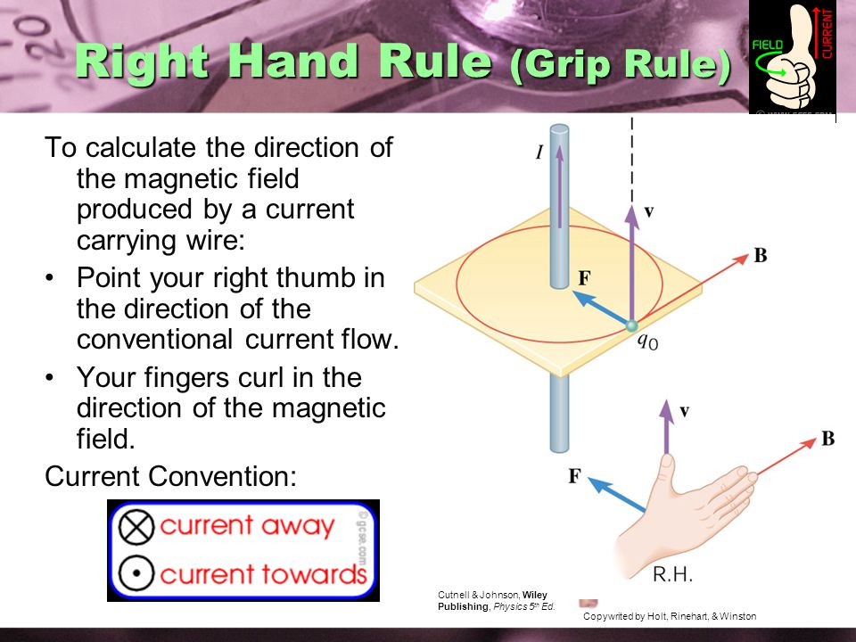 Right Hand Rule (Grip Rule) To calculate the direction of the magnetic field produced by a current carrying wire: Point your right thumb in the direction of the conventional current flow.