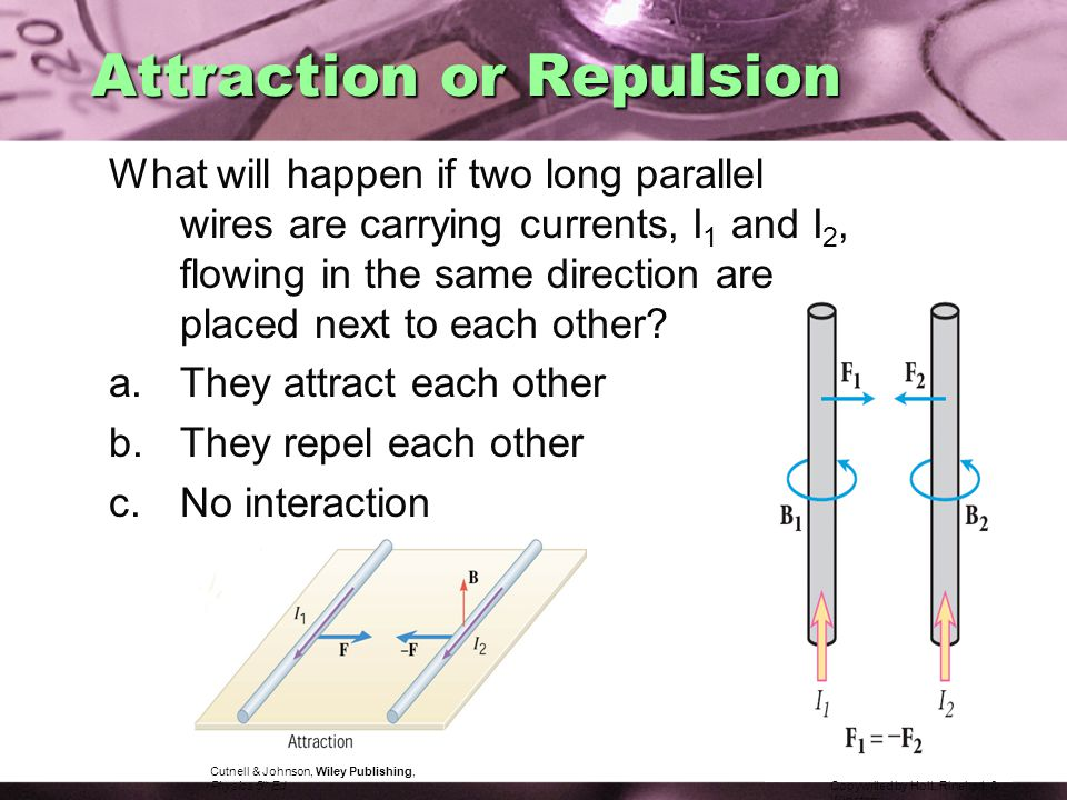 Attraction or Repulsion What will happen if two long parallel wires are carrying currents, I 1 and I 2, flowing in the same direction are placed next to each other.