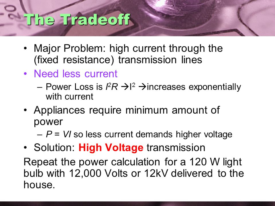 The Tradeoff Major Problem: high current through the (fixed resistance) transmission lines Need less current –Power Loss is I 2 R  I 2  increases exponentially with current Appliances require minimum amount of power –P = VI so less current demands higher voltage Solution: High Voltage transmission Repeat the power calculation for a 120 W light bulb with 12,000 Volts or 12kV delivered to the house.