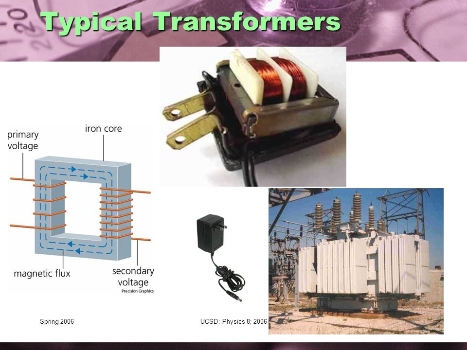 Spring 2006UCSD: Physics 8; 200680 Typical Transformers