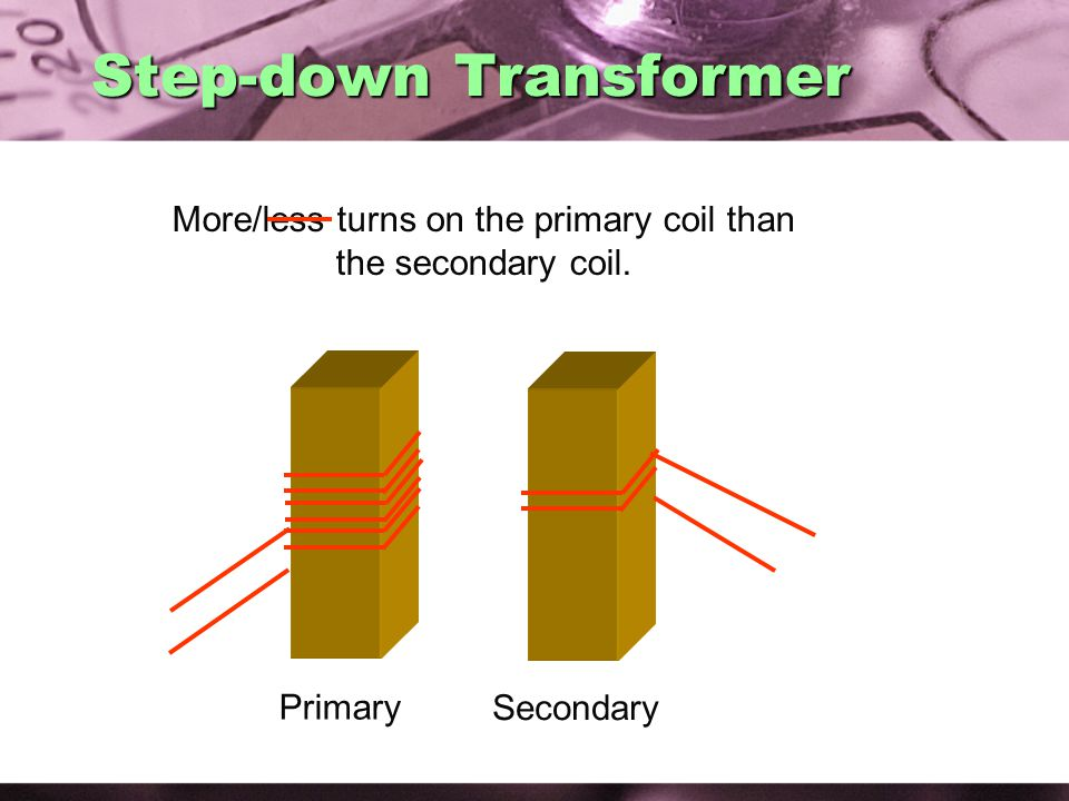More/less turns on the primary coil than the secondary coil.