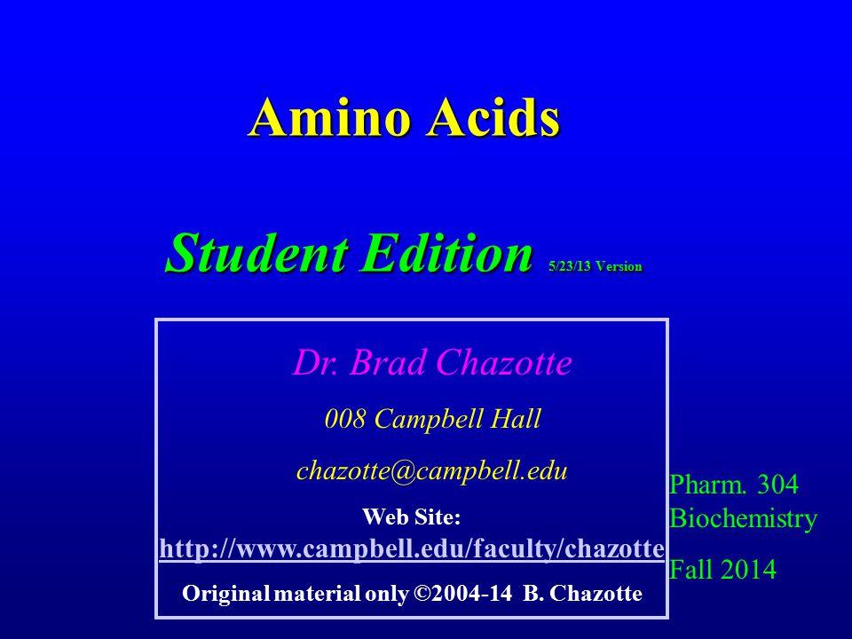 Amino Acids Student Edition 5/23/13 Version Pharm.