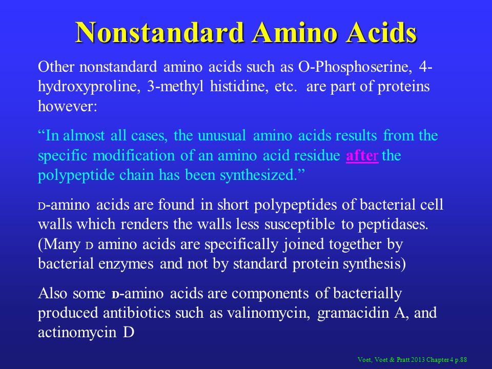 Nonstandard Amino Acids Other nonstandard amino acids such as O-Phosphoserine, 4- hydroxyproline, 3-methyl histidine, etc.