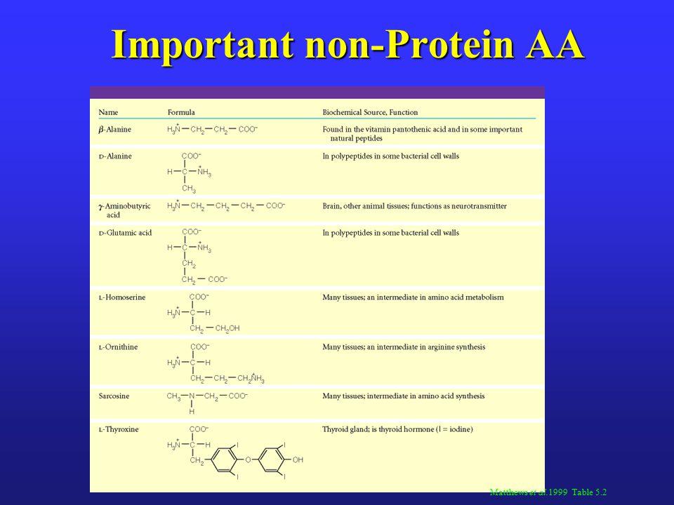 Important non-Protein AA Matthews et al.1999 Table 5.2