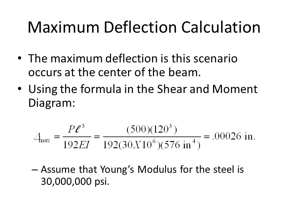 Maximum Deflection Calculation The maximum deflection is this scenario occurs at the center of the beam.