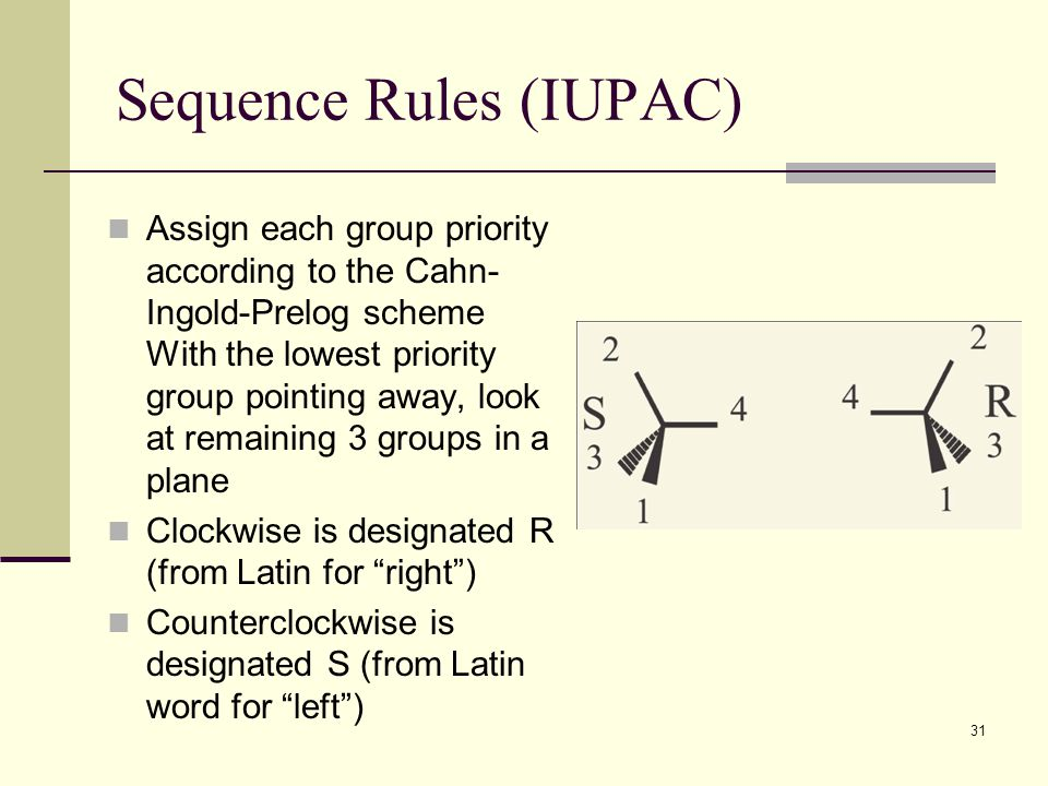 31 Sequence Rules (IUPAC) Assign each group priority according to the Cahn- Ingold-Prelog scheme With the lowest priority group pointing away, look at remaining 3 groups in a plane Clockwise is designated R (from Latin for right ) Counterclockwise is designated S (from Latin word for left )