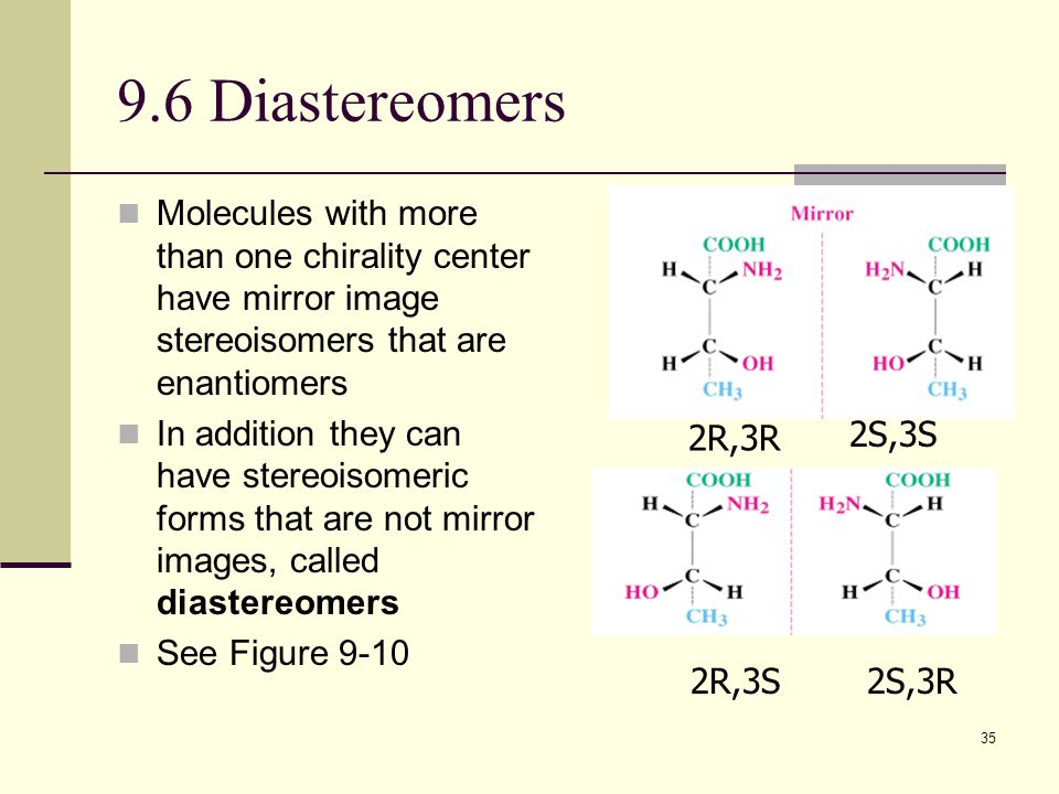 35 9.6 Diastereomers Molecules with more than one chirality center have mirror image stereoisomers that are enantiomers In addition they can have stereoisomeric forms that are not mirror images, called diastereomers See Figure 9-10 2R,3S2S,3R 2R,3R 2S,3S