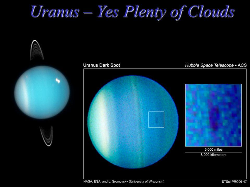 Uranus – Haze but any Clouds? Mass = 14.5 Earths Orbital Period: 84 years; Radius = 4.0 Earths Density = 1.3 gram/cm 3 = 1.3 x water Distance: 19.2 AU