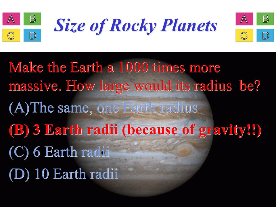 © 2005 Pearson Education Inc., publishing as Addison- Wesley Size of Rocky Planets Make the Earth a 1000 times more massive. How large would its radiu
