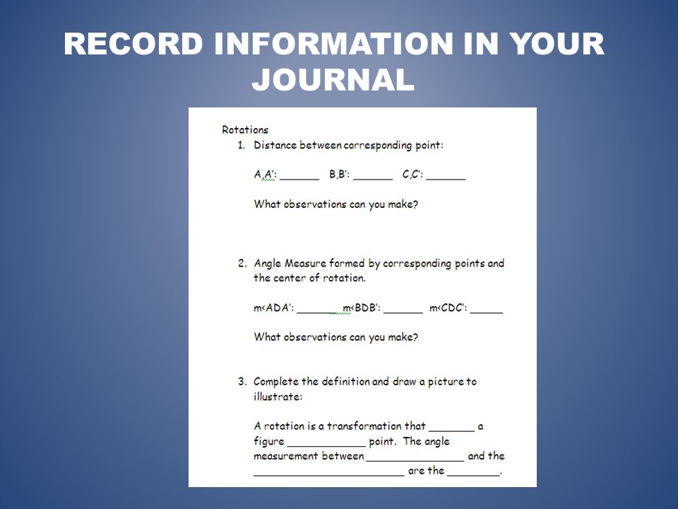 RECORD INFORMATION IN YOUR JOURNAL