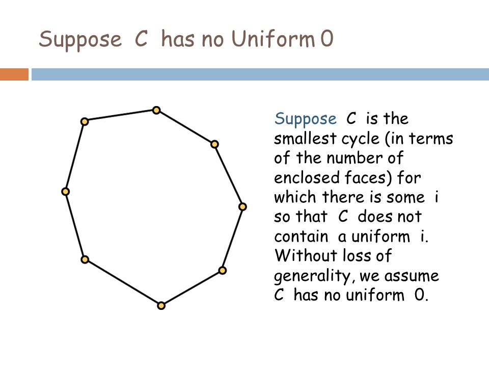 Suppose C has no Uniform 0 Suppose C is the smallest cycle (in terms of the number of enclosed faces) for which there is some i so that C does not contain a uniform i.