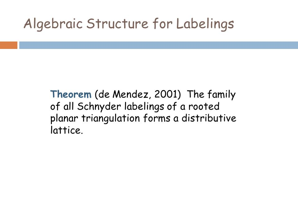 Algebraic Structure for Labelings Theorem (de Mendez, 2001) The family of all Schnyder labelings of a rooted planar triangulation forms a distributive lattice.