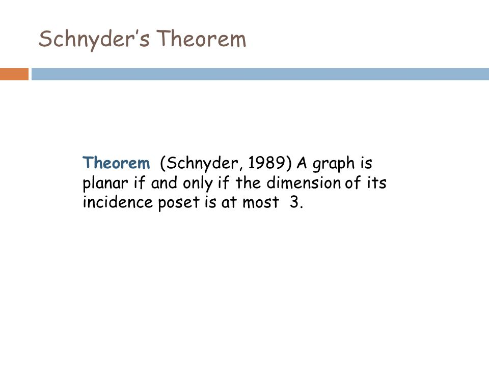 Schnyder's Theorem Theorem (Schnyder, 1989) A graph is planar if and only if the dimension of its incidence poset is at most 3.