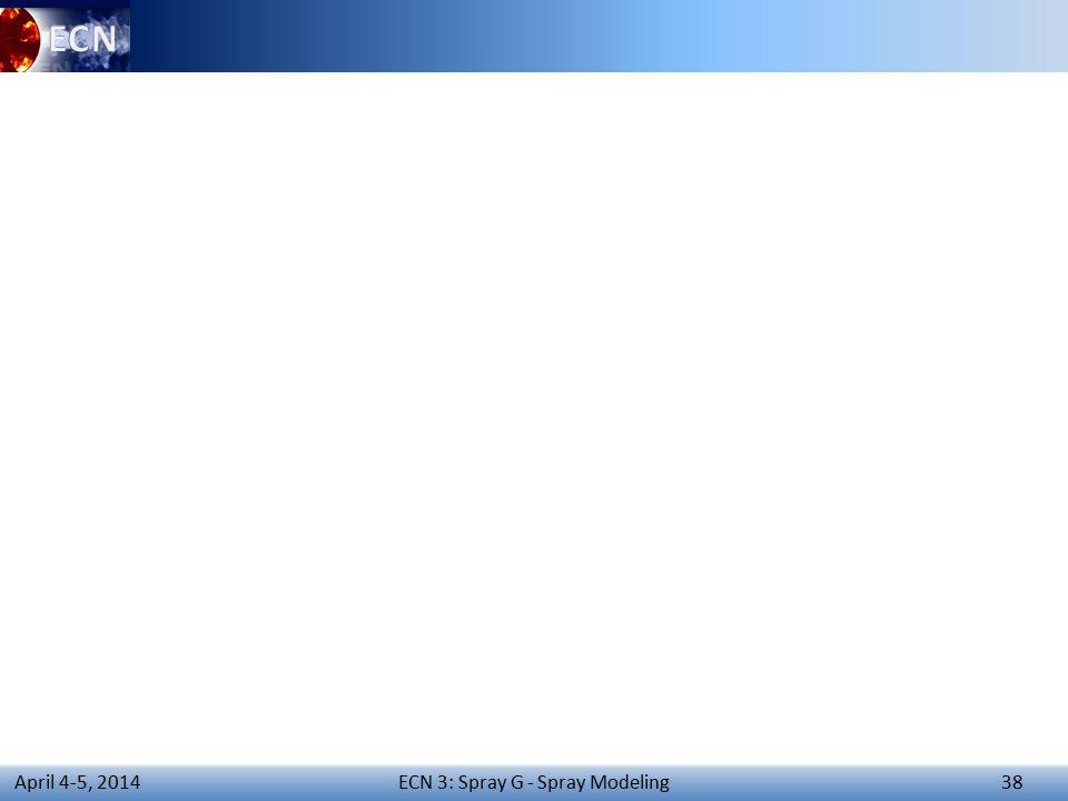 ECN 3: Spray G - Spray Modeling 38 April 4-5, 2014