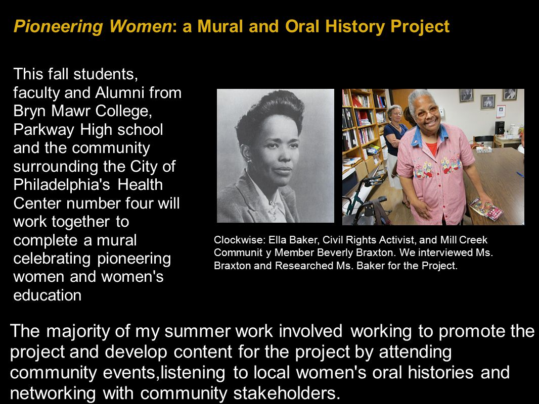Pioneering Women: a Mural and Oral History Project The majority of my summer work involved working to promote the project and develop content for the