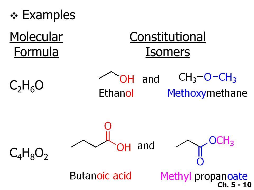 Ch. 5 - 10  Examples Molecular Formula Constitutional Isomers C2H6OC2H6O C4H8O2C4H8O2