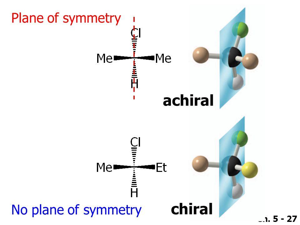 Ch. 5 - 27 Plane of symmetry No plane of symmetry achiral chiral
