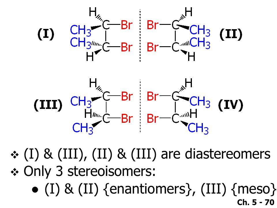 Ch. 5 - 70  (I) & (III), (II) & (III) are diastereomers  Only 3 stereoisomers: ●(I) & (II) {enantiomers}, (III) {meso}