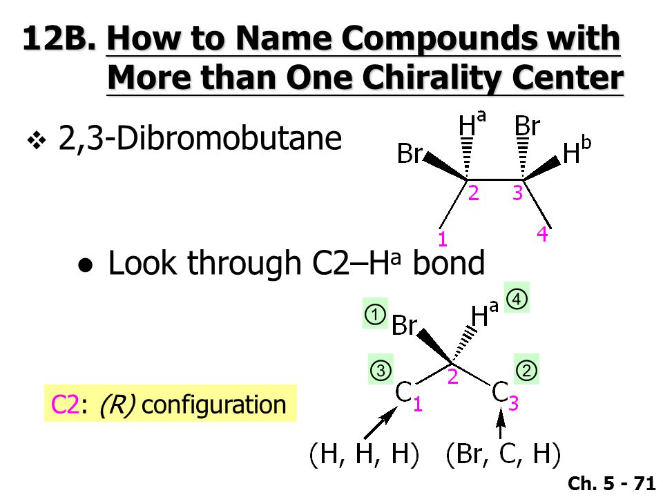Ch. 5 - 71 12B. How to Name Compounds with More than One Chirality Center  2,3-Dibromobutane ●Look through C2–H a bond ① ④ ②③ C2: (R) configuration