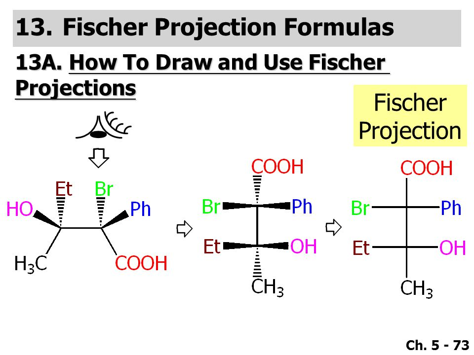 Ch. 5 - 73 13.Fischer Projection Formulas 13A. How To Draw and Use Fischer Projections Fischer Projection