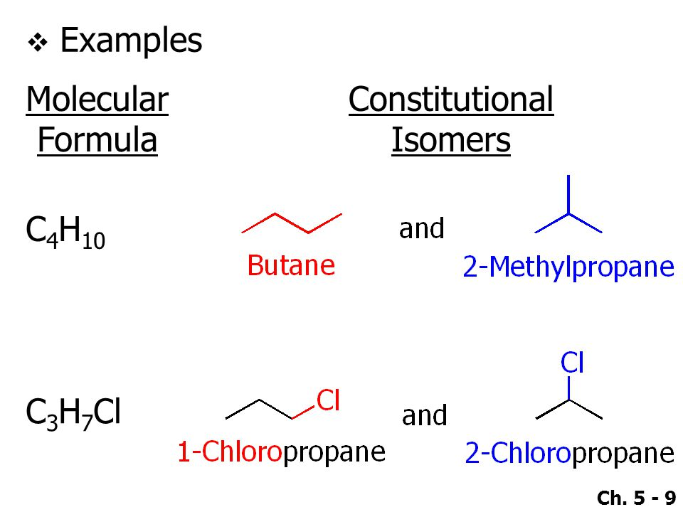 Ch. 5 - 9  Examples Molecular Formula Constitutional Isomers C 4 H 10 C 3 H 7 Cl