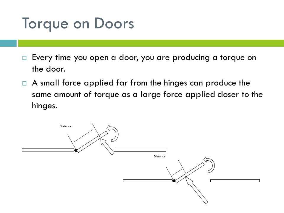 Torque on Doors  Every time you open a door, you are producing a torque on the door.