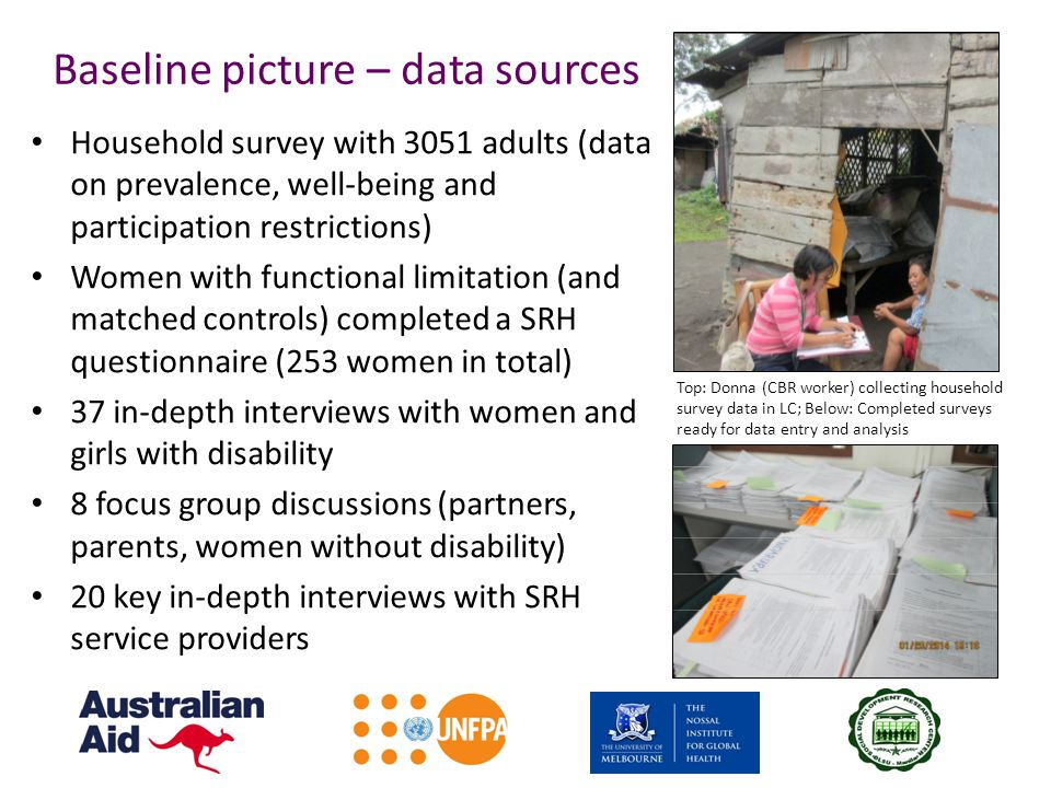 Baseline picture – data sources Household survey with 3051 adults (data on prevalence, well-being and participation restrictions) Women with functional limitation (and matched controls) completed a SRH questionnaire (253 women in total) 37 in-depth interviews with women and girls with disability 8 focus group discussions (partners, parents, women without disability) 20 key in-depth interviews with SRH service providers Top: Donna (CBR worker) collecting household survey data in LC; Below: Completed surveys ready for data entry and analysis