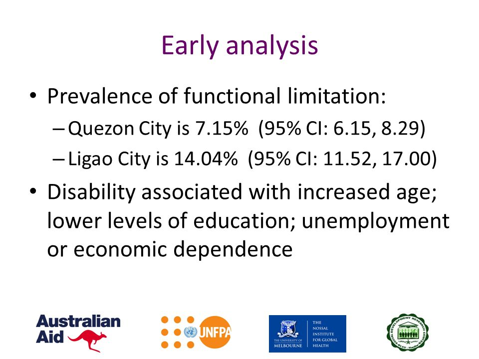 Early analysis Prevalence of functional limitation: – Quezon City is 7.15% (95% CI: 6.15, 8.29) – Ligao City is 14.04% (95% CI: 11.52, 17.00) Disabili