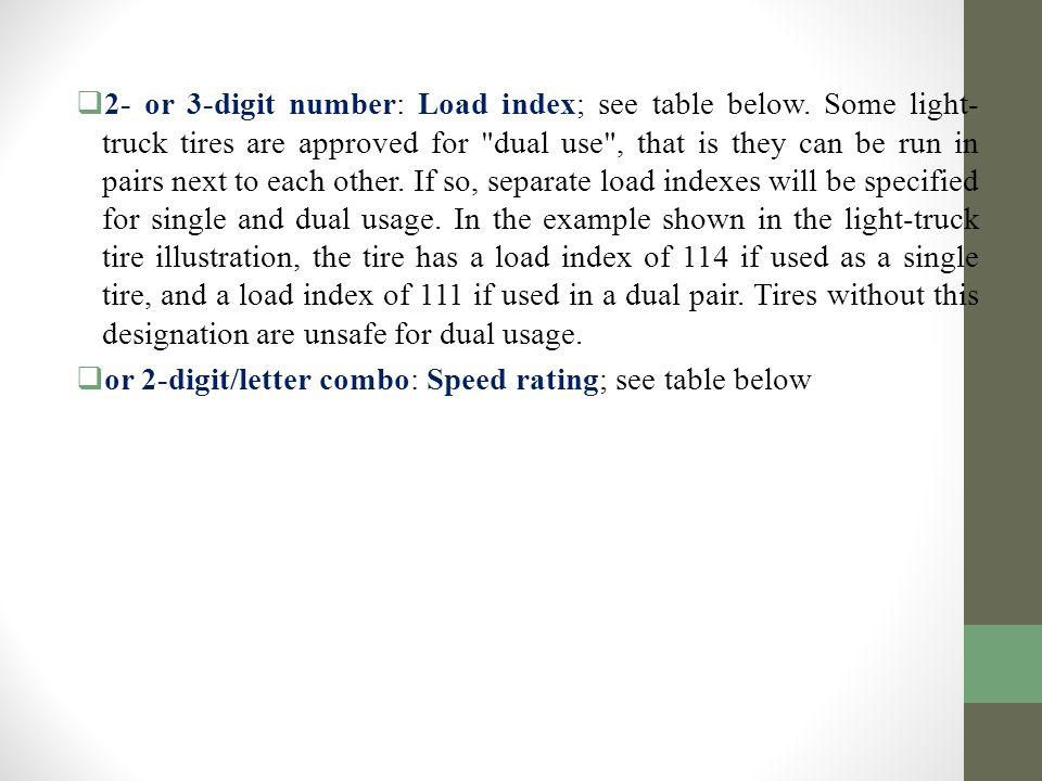  2- or 3-digit number: Load index; see table below.