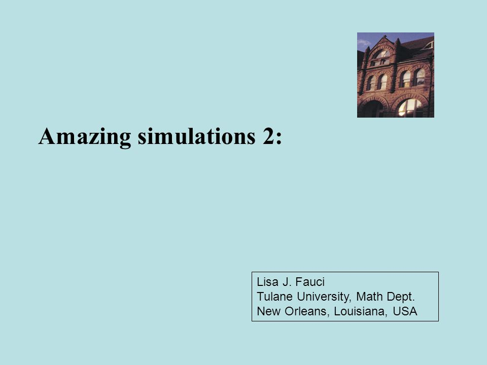 Lisa J. Fauci Tulane University, Math Dept. New Orleans, Louisiana, USA Amazing simulations 2: