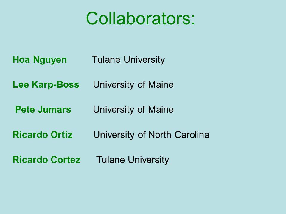 Collaborators: Hoa Nguyen Tulane University Lee Karp-Boss University of Maine Pete Jumars University of Maine Ricardo Ortiz University of North Caroli