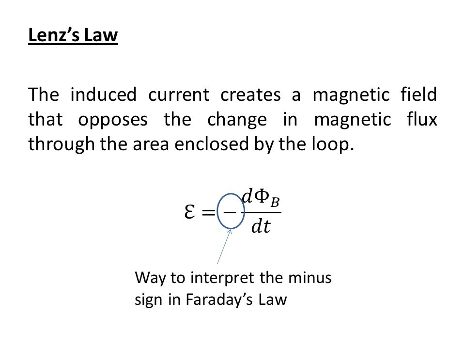 Way to interpret the minus sign in Faraday's Law