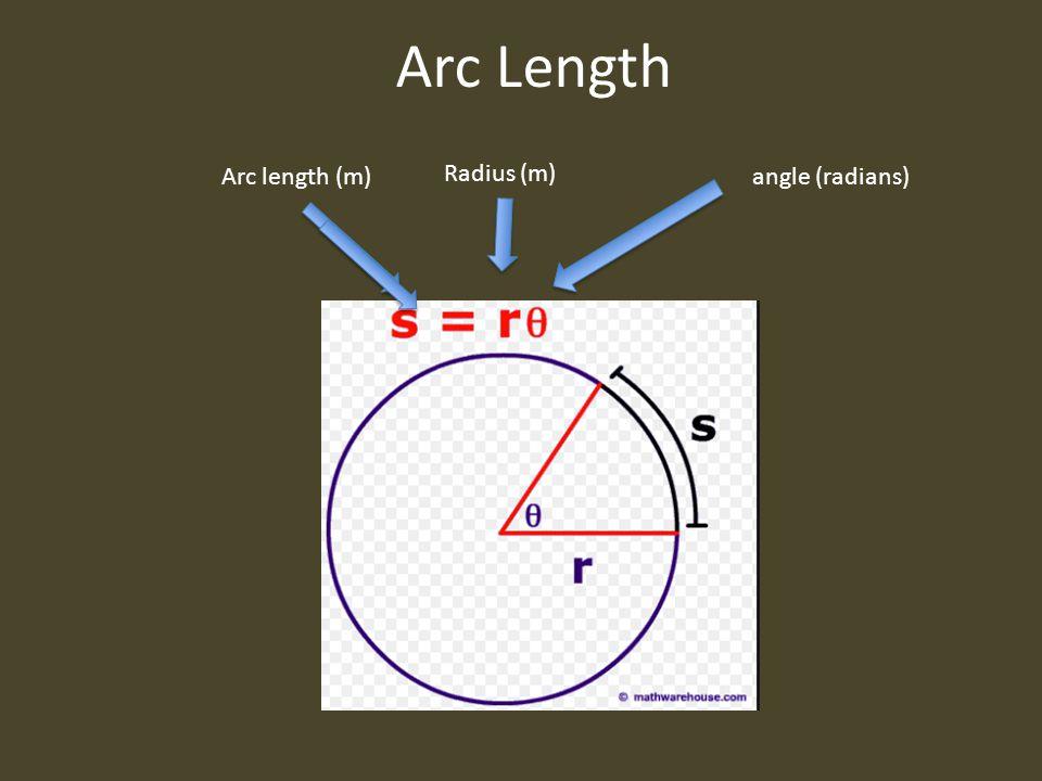 Arc Length Arc length (m) Radius (m) angle (radians)