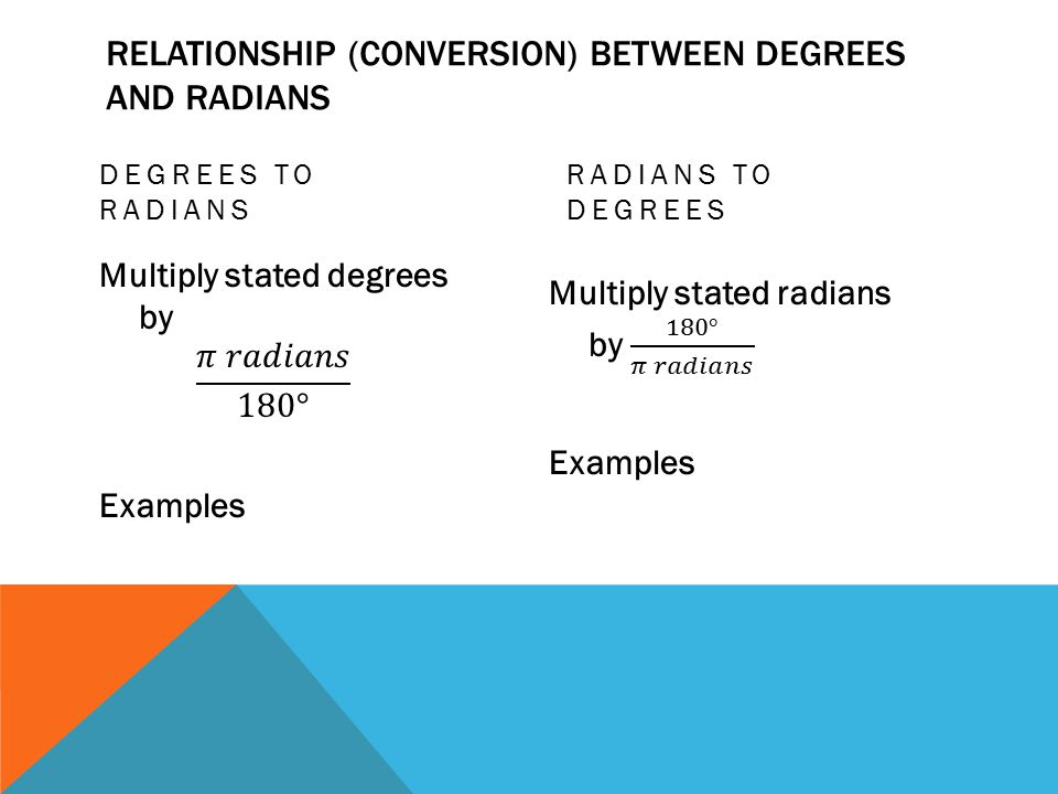 RELATIONSHIP (CONVERSION) BETWEEN DEGREES AND RADIANS DEGREES TO RADIANS RADIANS TO DEGREES