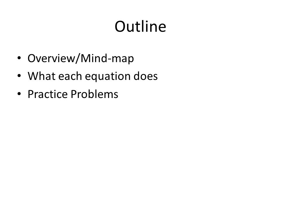 Outline Overview/Mind-map What each equation does Practice Problems