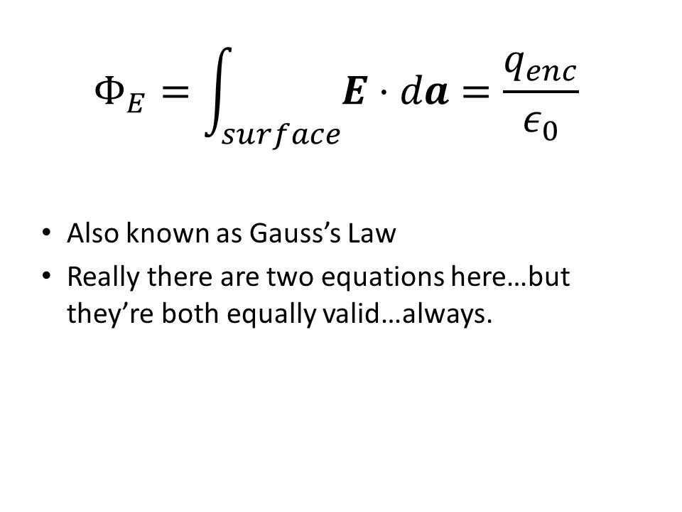 Also known as Gauss's Law Really there are two equations here…but they're both equally valid…always.