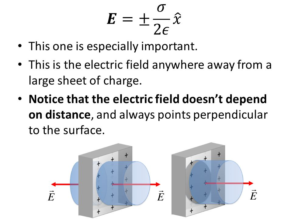This one is especially important. This is the electric field anywhere away from a large sheet of charge. Notice that the electric field doesn't depend