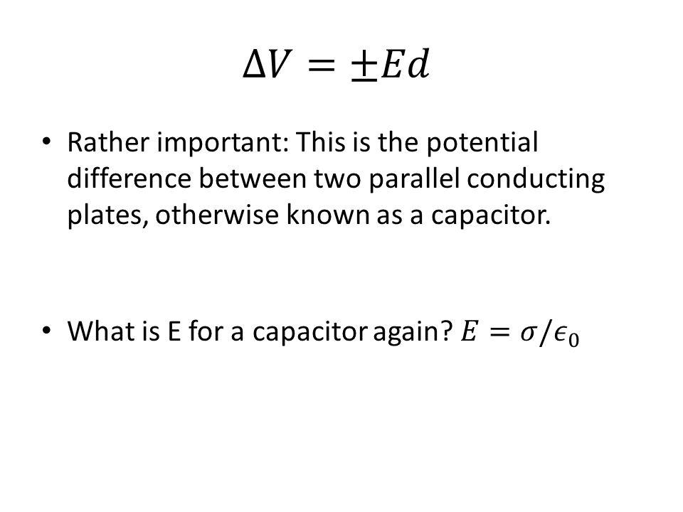 Definition of capacitance C=Charge Q/ Voltage drop