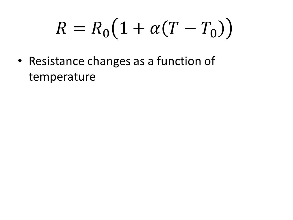 Resistance changes as a function of temperature