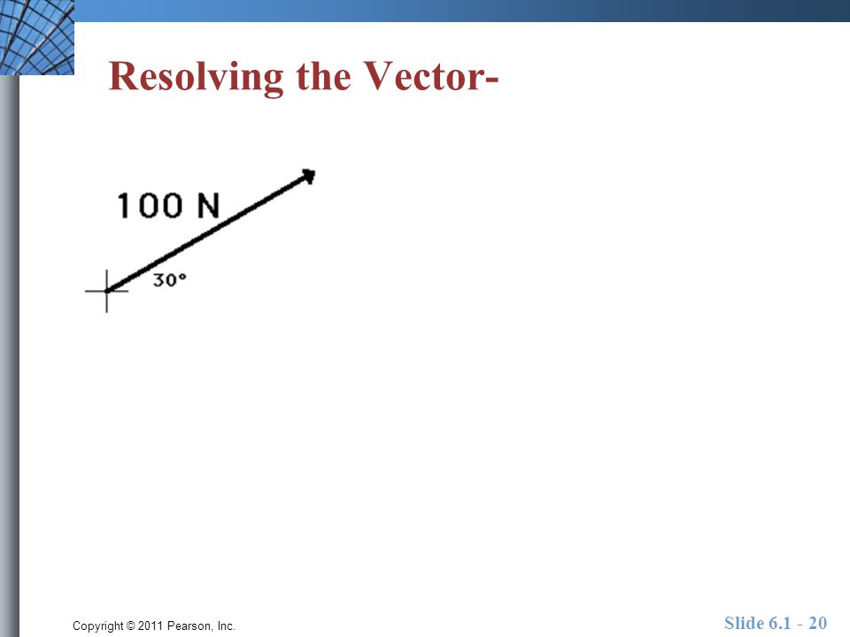 Copyright © 2011 Pearson, Inc. Slide 6.1 - 20 Resolving the Vector-