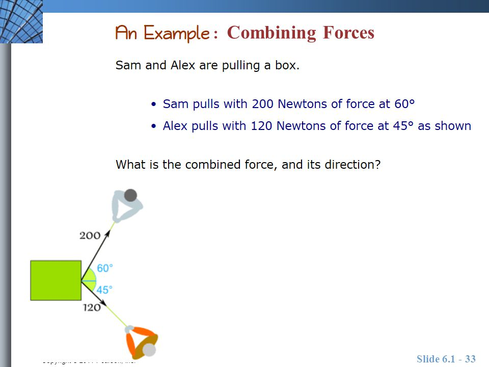 Copyright © 2011 Pearson, Inc. Slide 6.1 - 33 : Combining Forces