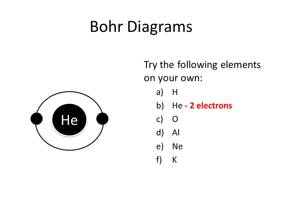 Bohr Diagrams Try the following elements on your own: a)H b)He - 2 electrons c)O d)Al e)Ne f)K He