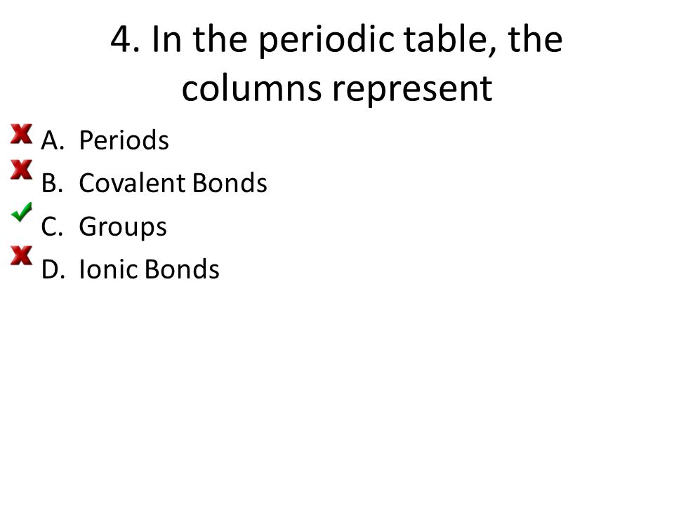 4. In the periodic table, the columns represent A.Periods B.Covalent Bonds C.Groups D.Ionic Bonds